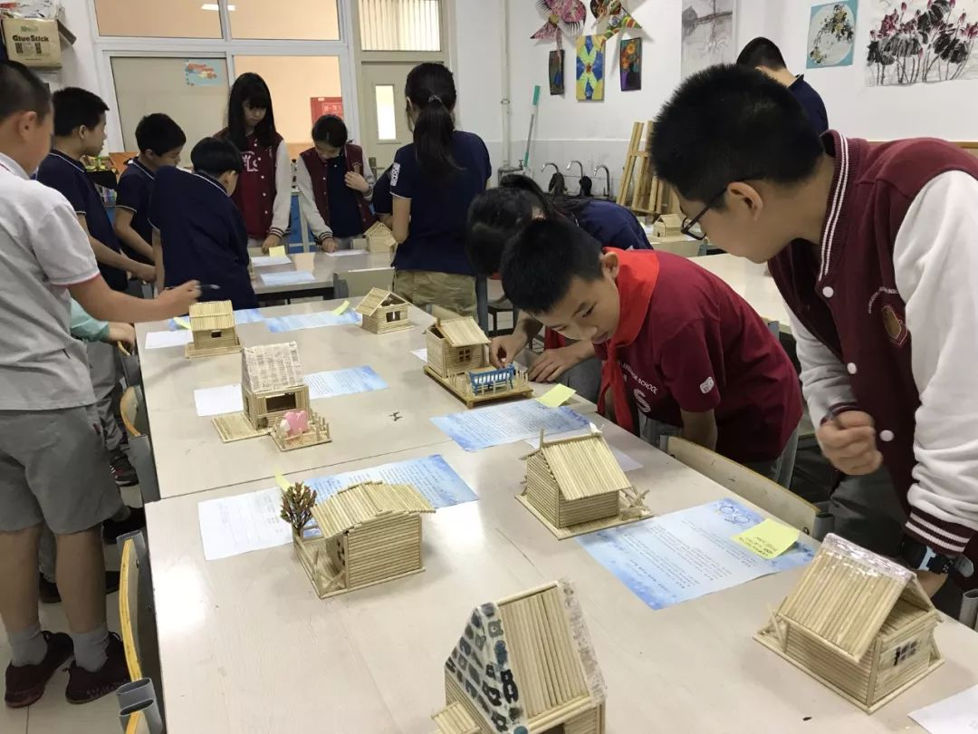 """6th Graders Build Wooden """"Cabins"""" as the Gifts to BRFLS"""